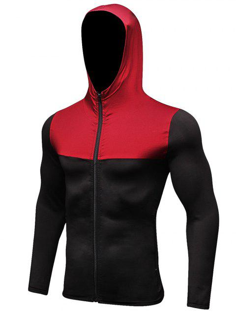 Windproof Quick-dry Zip Fly Sport Hoodie - LAVA RED L