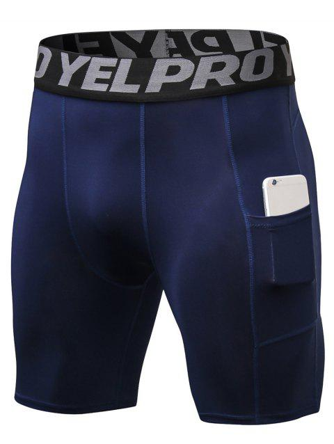 Quick Dry Stretch Tight Shorts with Pocket - NAVY BLUE M