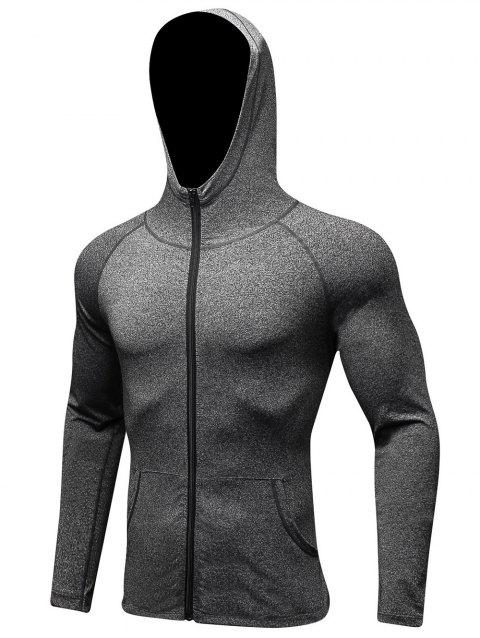 Solid Color Zip Fly Sport Hoodie - DARK GRAY L