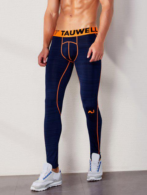 Letter Pattern Tight-fitting Stretchy Sport Pants - MIDNIGHT BLUE M
