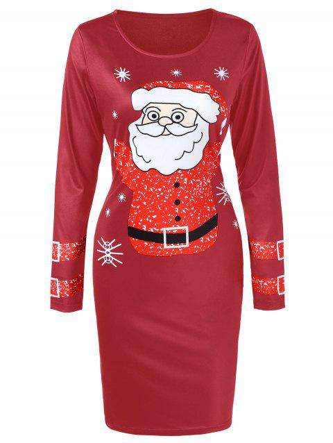 Santa Claus Christmas Dress with Long Sleeves - RED WINE 2XL