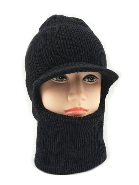 Winter Solid Color Knitted Ski Cap - BLACK