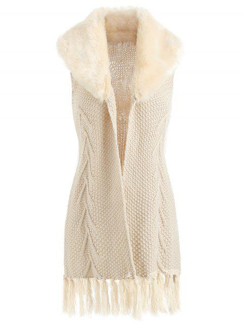 Sleeveless Tassel Cable Knit Cardigan - BEIGE ONE SIZE