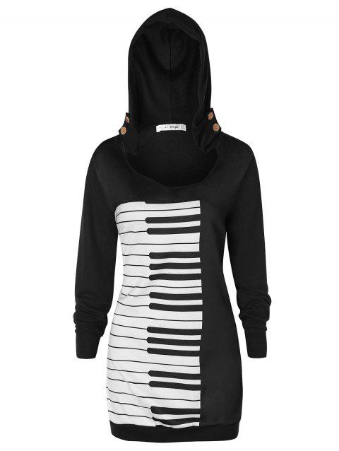 Plus Size Musical Notes Pullover Hoodie - BLACK 1X