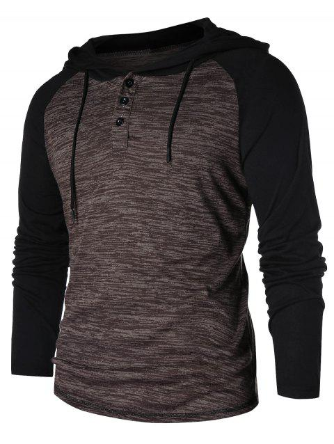 80f9be2c8c6f 58% OFF] 2019 Casual Color Block Raglan Sleeve Hoodie In COFFEE ...