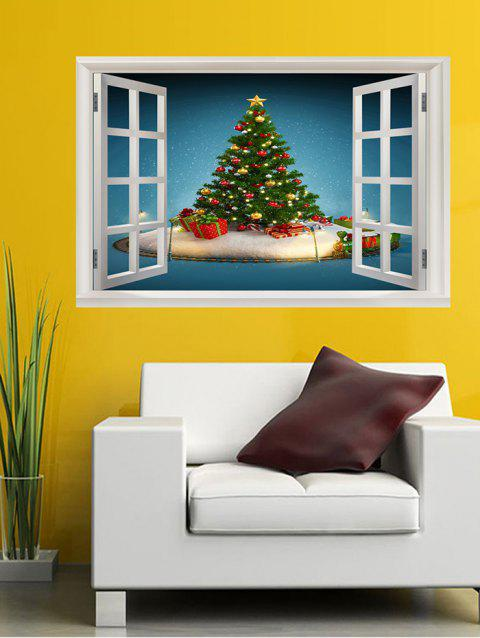 Window Christmas Tree Print Wall Art Stickers - multicolor W20 X L27.5 INCH