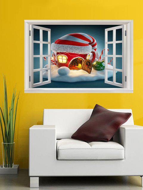 Window Christmas House Print Wall Art Stickers - multicolor W20 X L27.5 INCH
