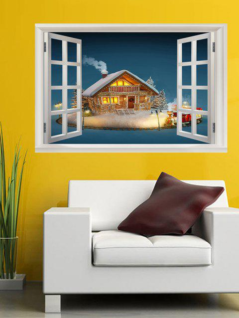 Christmas House Window Print Wall Art Stickers - multicolor W20 X L27.5 INCH