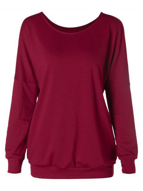 Drop Shoulder Scoop Neck Sweatshirt - RED WINE XL