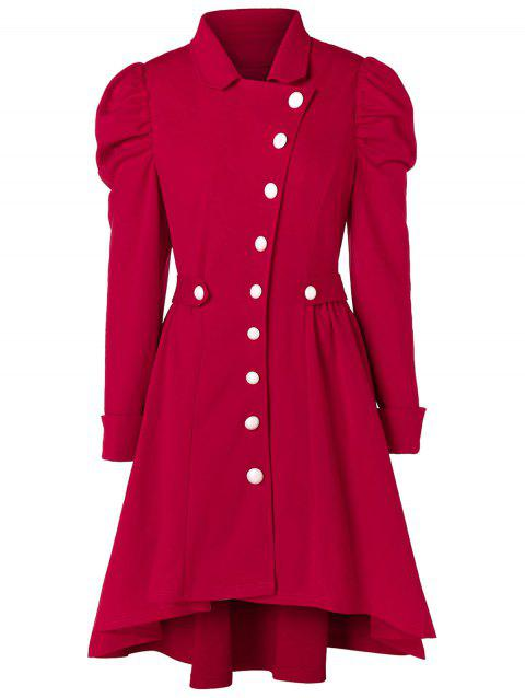 Plus Size Button Up High Low Skirted Coat - RED WINE 2X