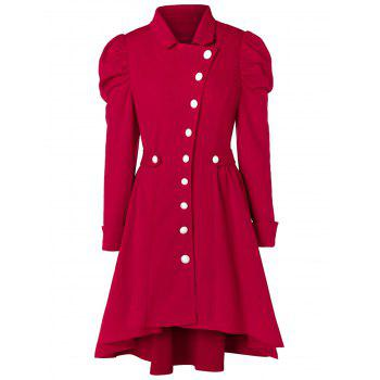 Plus Size Button Up High Low Skirted Coat