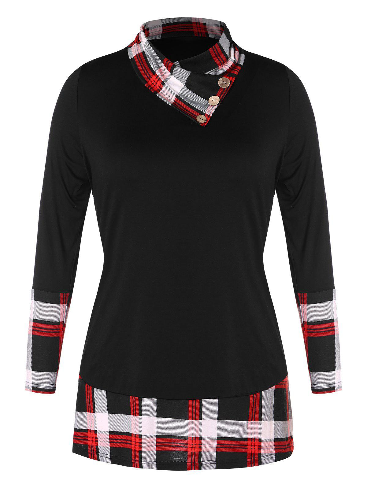 Image of Plus Size Heaps Collar Plaid Splicing T-shirt