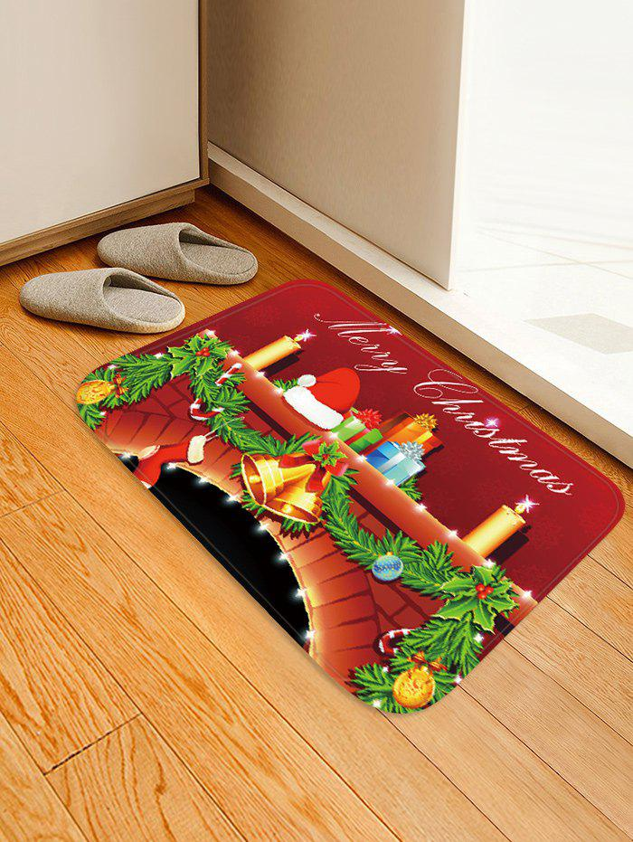 Christmas Fireplace Candle Pattern Water Absorption Area Rug фото
