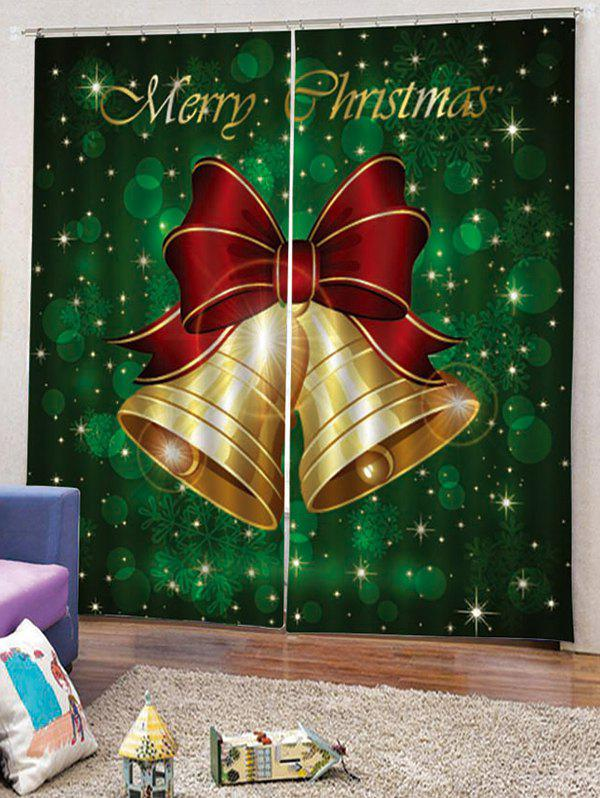 2PCS Merry Christmas Bells Pattern Window Curtains - MEDIUM FOREST GREEN W33.5 X L79 INCH X 2PCS