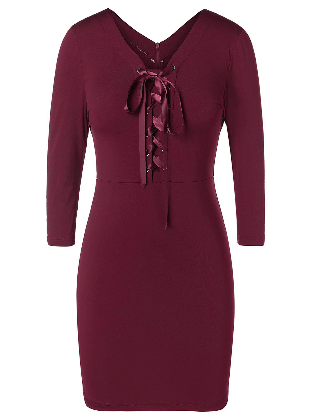 Plus Size Lace Up Pencil Dress
