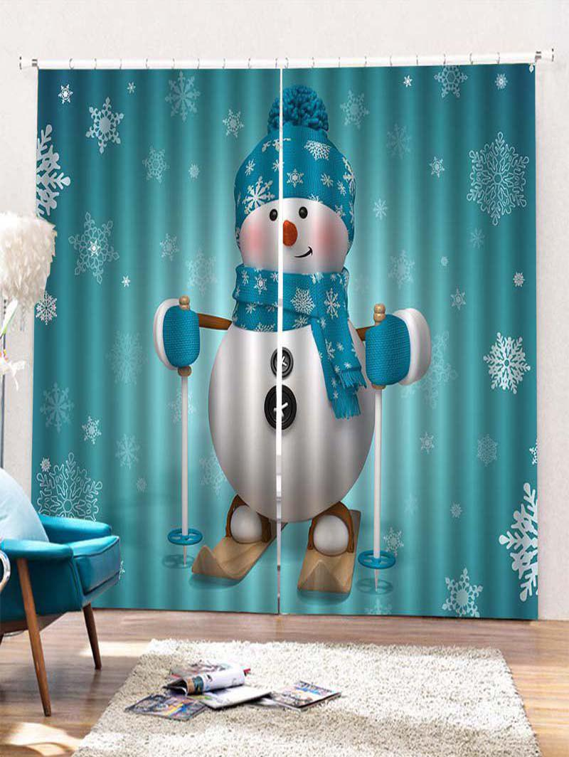 2PCS Ski Christmas Snowman Pattern Window Curtains - MACAW BLUE GREEN W33.5 X L79 INCH X 2PCS