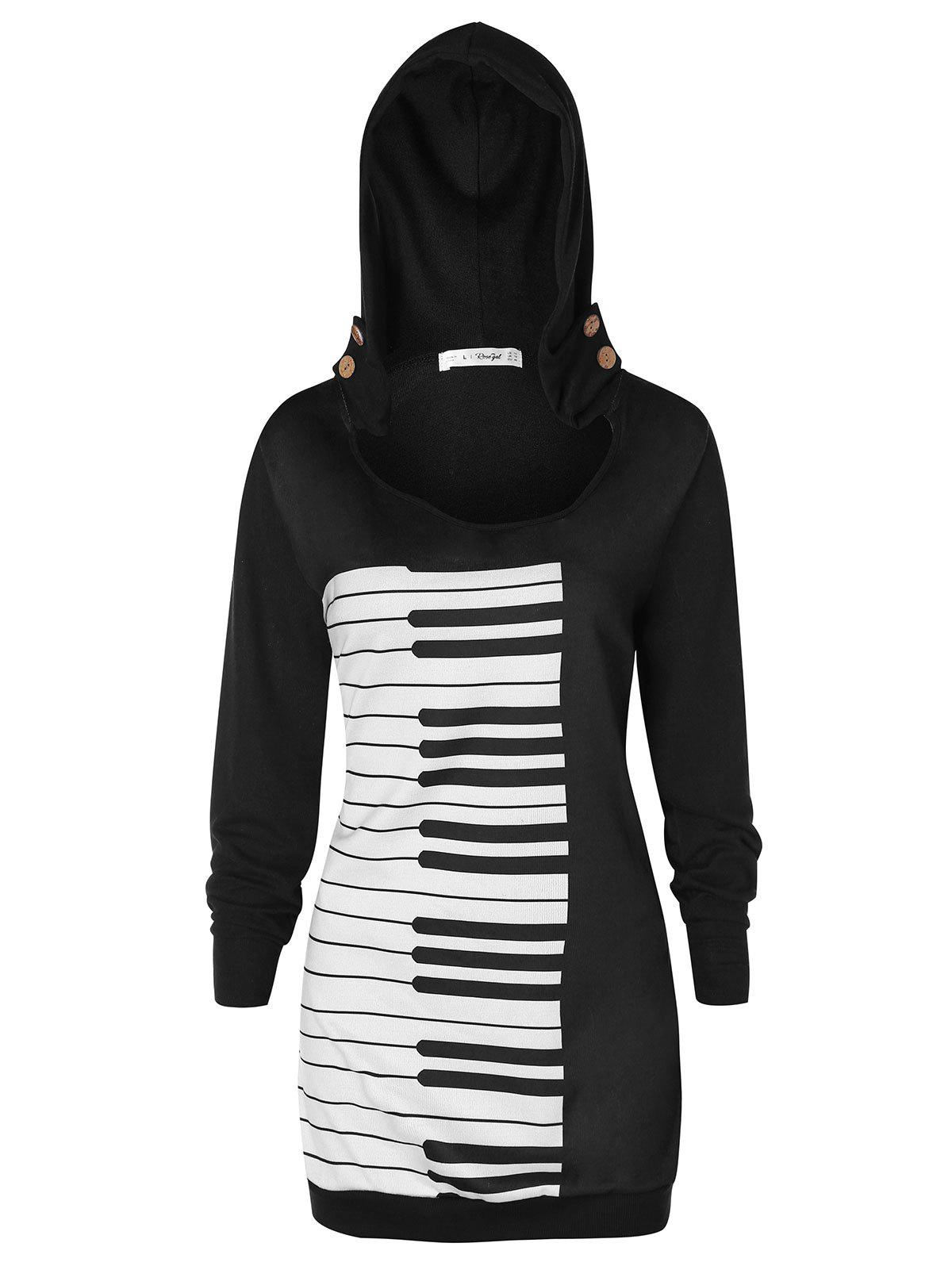Plus Size Musical Notes Pullover Hoodie - BLACK 4X