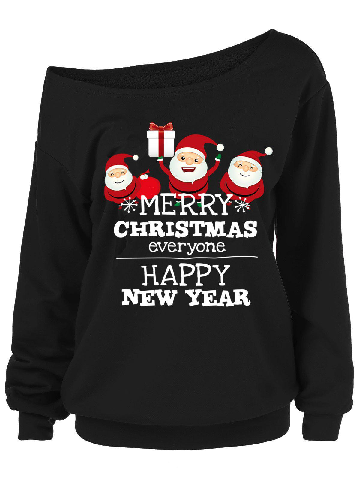 Plus Size Skew Neck Graphic Christmas Sweatshirt - BLACK 1X