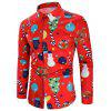 Christmas Theme Button Up Shirt - WHITE M