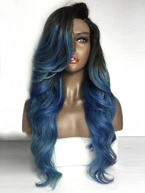 Long Deep Side Parting Colormix Wavy Party Synthetic Wig - multicolor