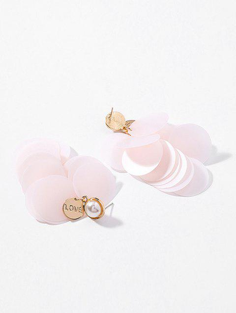 Layered Round Paillette Artificial Pearl Earrings - PINK