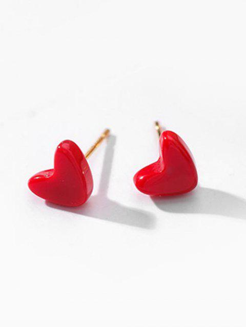Heart Deisgn Stud Earrings - RED