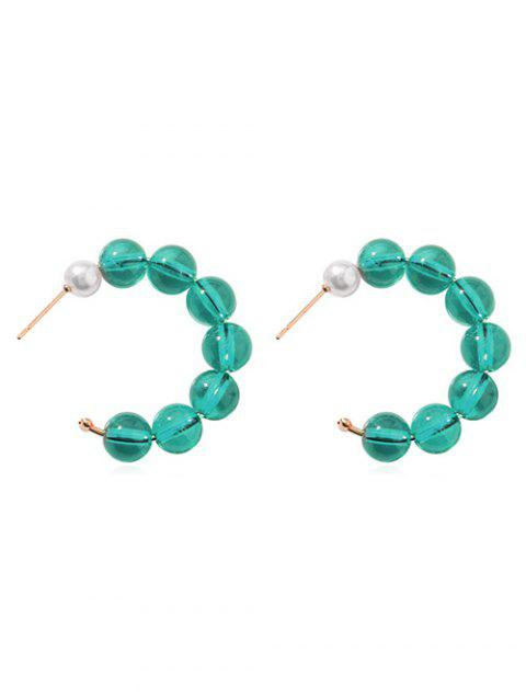 Beaded Artificial Pearl Hoop Design Earrings - DARK TURQUOISE