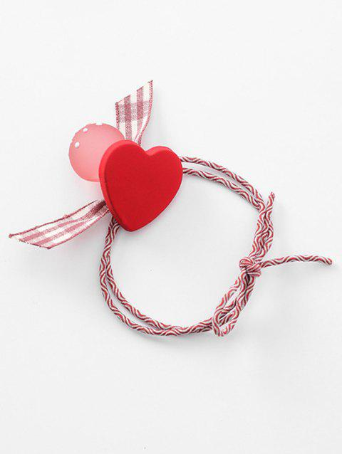 Heart Plaid Pattern Bowknot Hair Band - RED