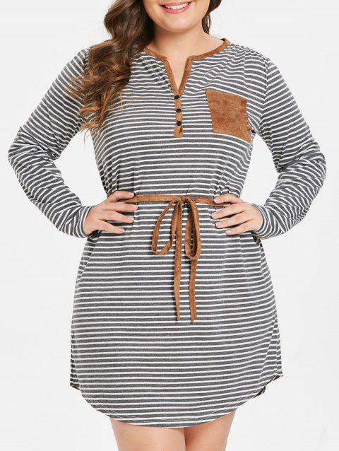 Plus Size Breast Pocket Insert Striped Dress - GRAY 1X