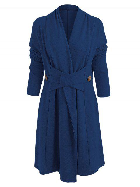 Open Front Button Long Duster Cardigan - PEACOCK BLUE 2XL