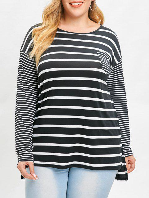 5f6634c53e 2019 Plus Size High Low Slit Contrast Striped Tee In BLACK 4X ...