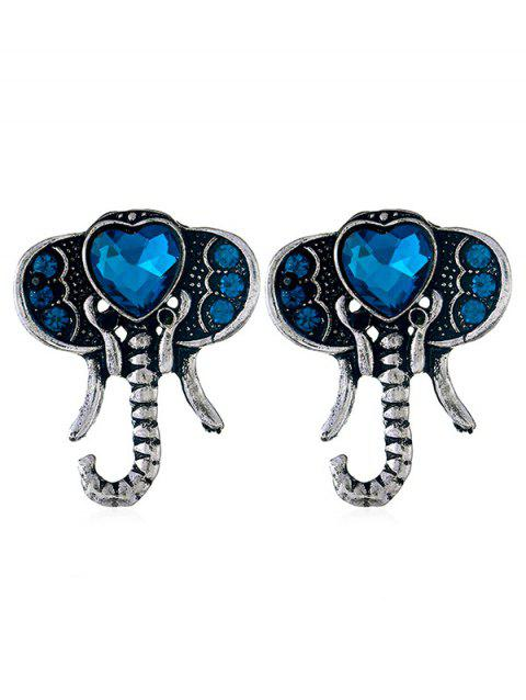 Faux Sapphire Elephant Stud Earrings - SILVER
