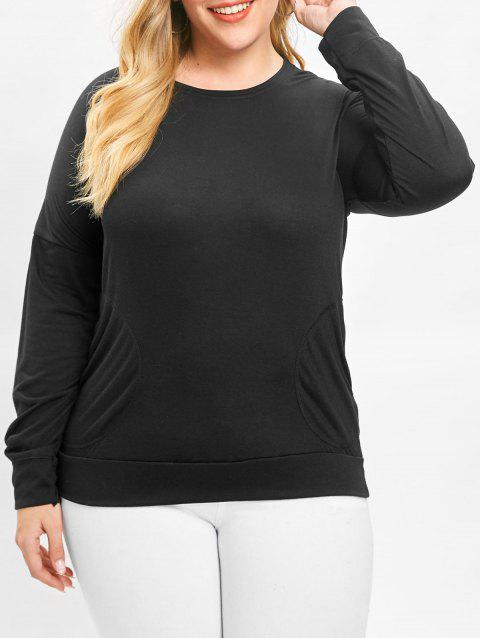 e8410890b96 LIMITED OFFER  2019 Plus Size Long Sleeve Plain T-shirt In BLACK 3X ...
