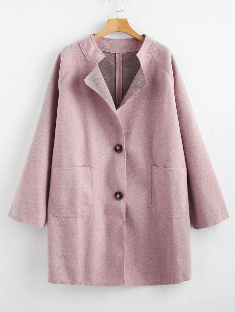 Front Pockets Plus Size Button Coat