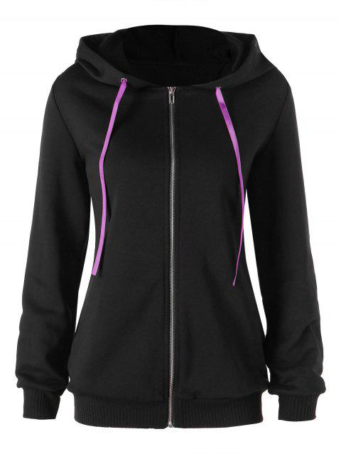 33c0f0e95d8 41% OFF  2019 Lace Up Drawstring Zip Up Hoodie In BLACK