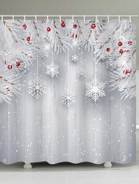 Christmas Snowflake Wooden Waterproof Shower Curtain - PLATINUM W71 X L79 INCH