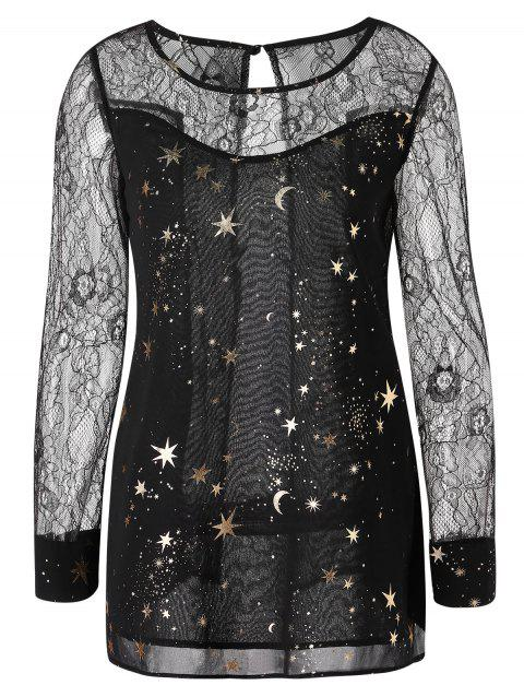 Stars Print Back Slit See Through Lace Blouse - BLACK M