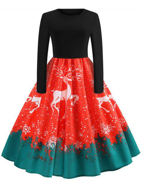 Christmas Reindeer Snowflake Pin Up Dress - RED M