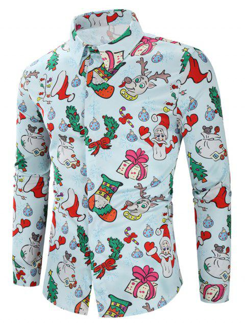 Christmas Santa Candy Gift Print Long Sleeves Shirt - LIGHT BLUE M