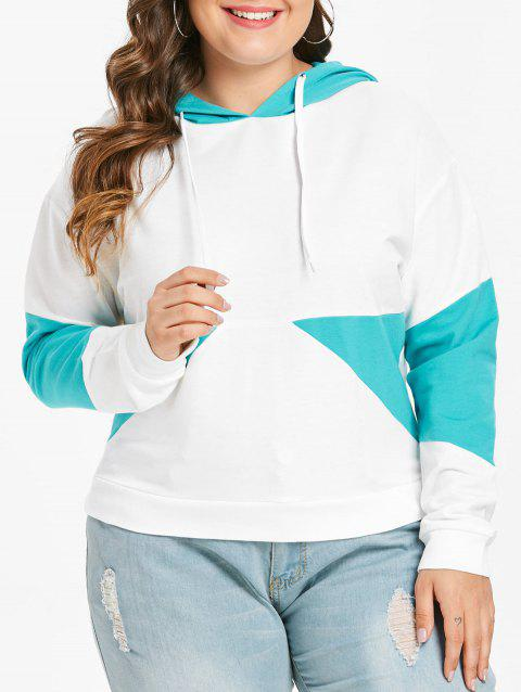 Plus Size Pullover Drop Shoulder Contrast Hoodie - WHITE 1X