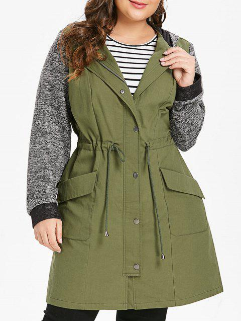 Plus Size Drawstring Waisted Panel Longline Hooded Coat - ARMY GREEN 1X