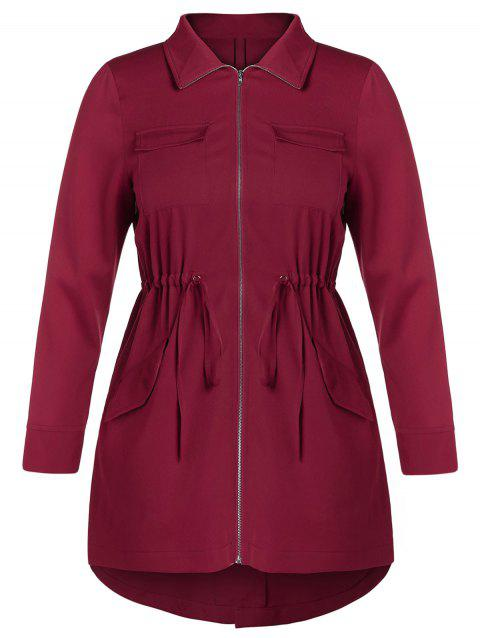Plus Size Drawstring High Low Coat - RED WINE 3X