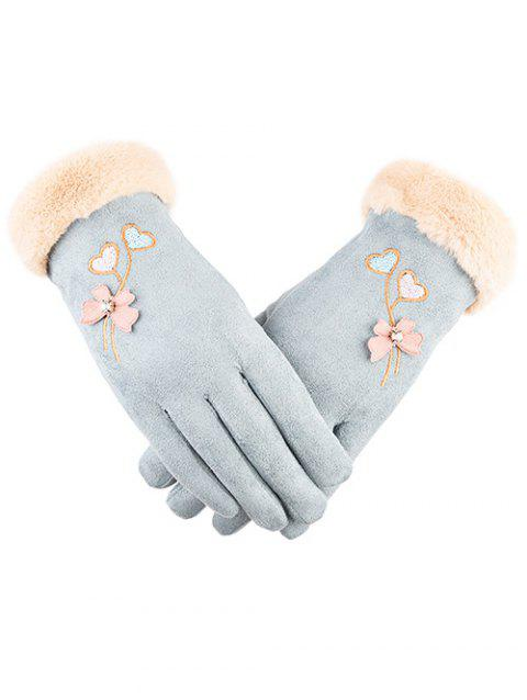 Rhinestone Floral Full Finger Gloves - LIGHT CYAN