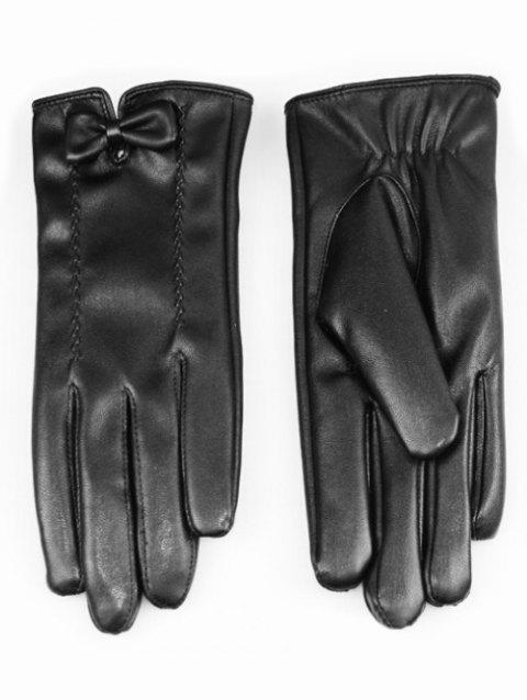 Cute Bowknot PU Leather Gloves - BLACK
