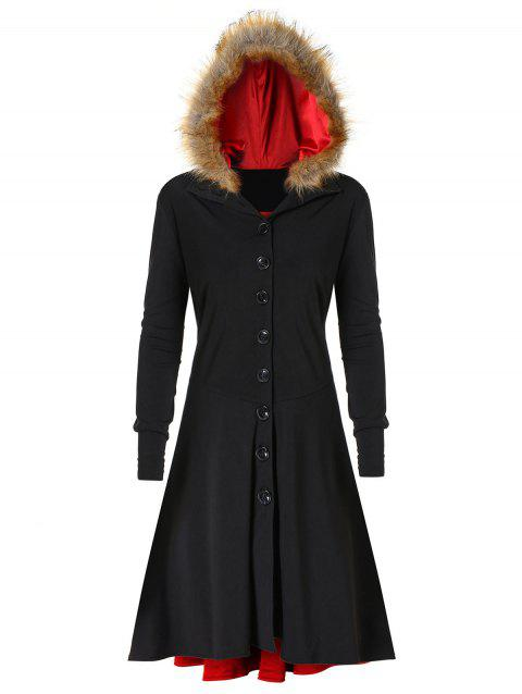 Plus Size Lace Up Single Breasted Fuzzy Hooded Coat - BLACK L