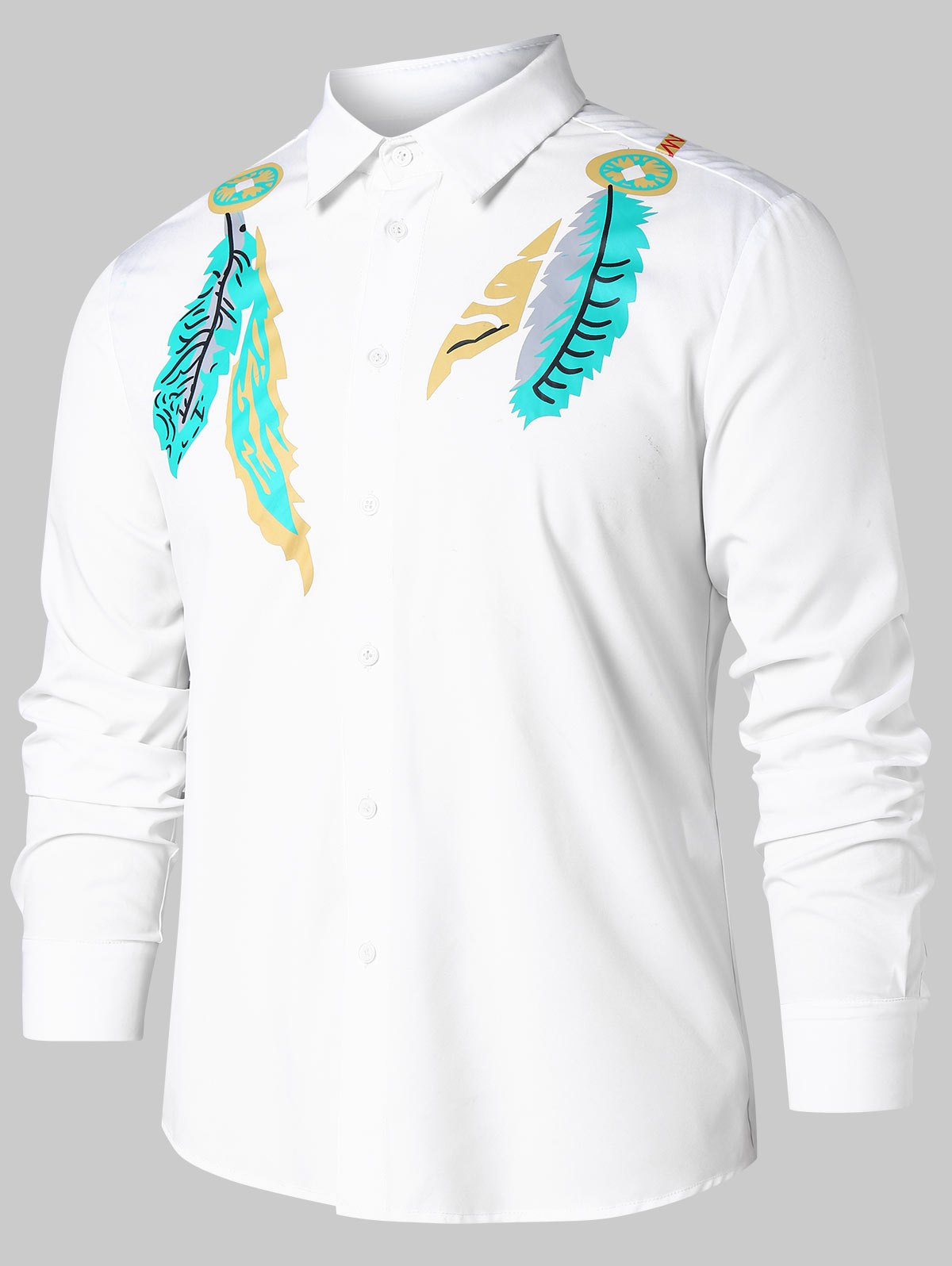 Leaves Print Button Up Casual Shirt - WHITE M