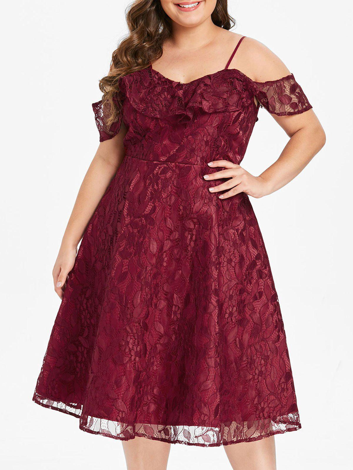 Plus Size High Waisted Lace Dress with Flounce - RED WINE L