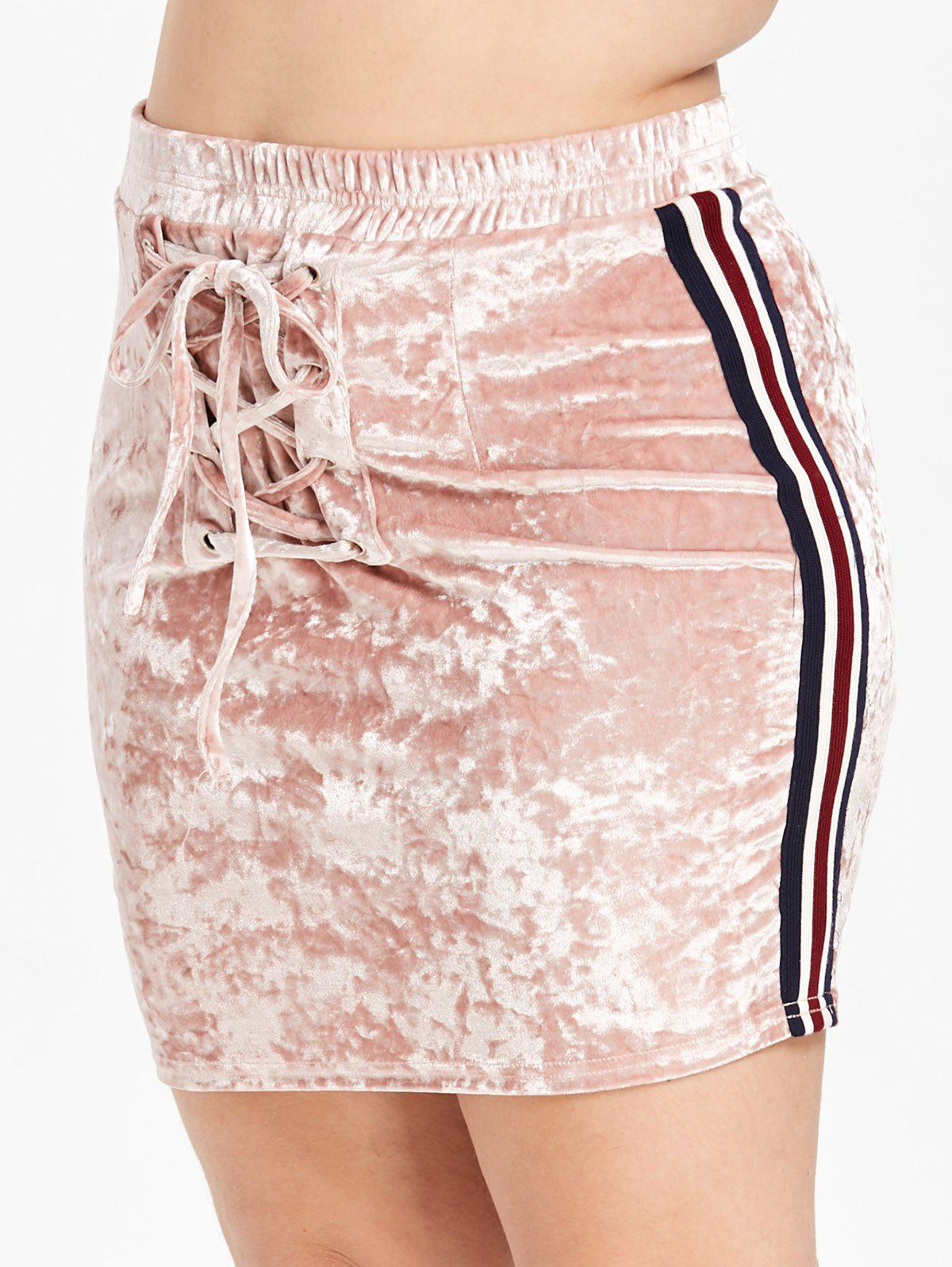 Plus Size Ribbons Lace Up Velvet Bodycon Skirt - PINK 1X