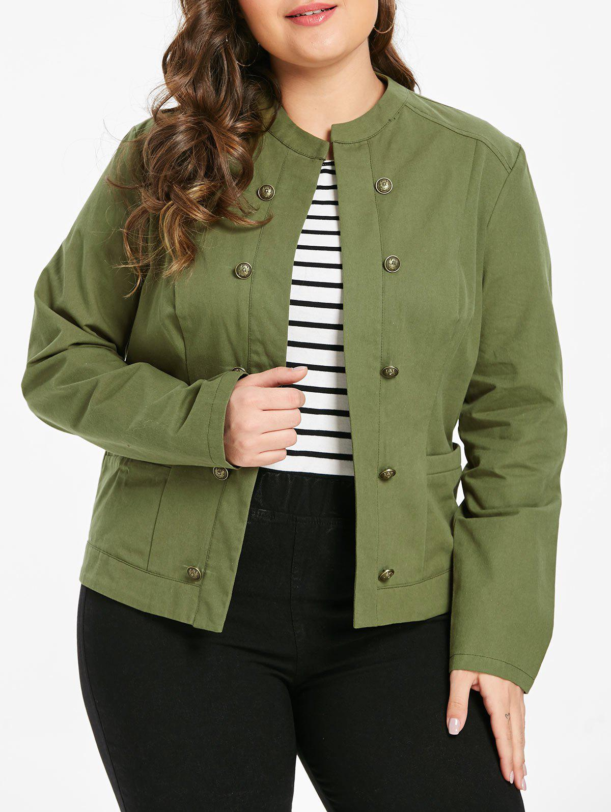Plus Size Open Front Jacket with Buttons - ARMY GREEN 1X