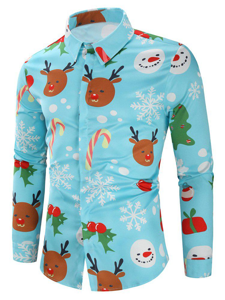 Christmas Candy Snowflakes Elk Print Casual Shirt - BLUE L